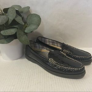 Sperry Black Patent Leather Hayden Loafers Shoes 7